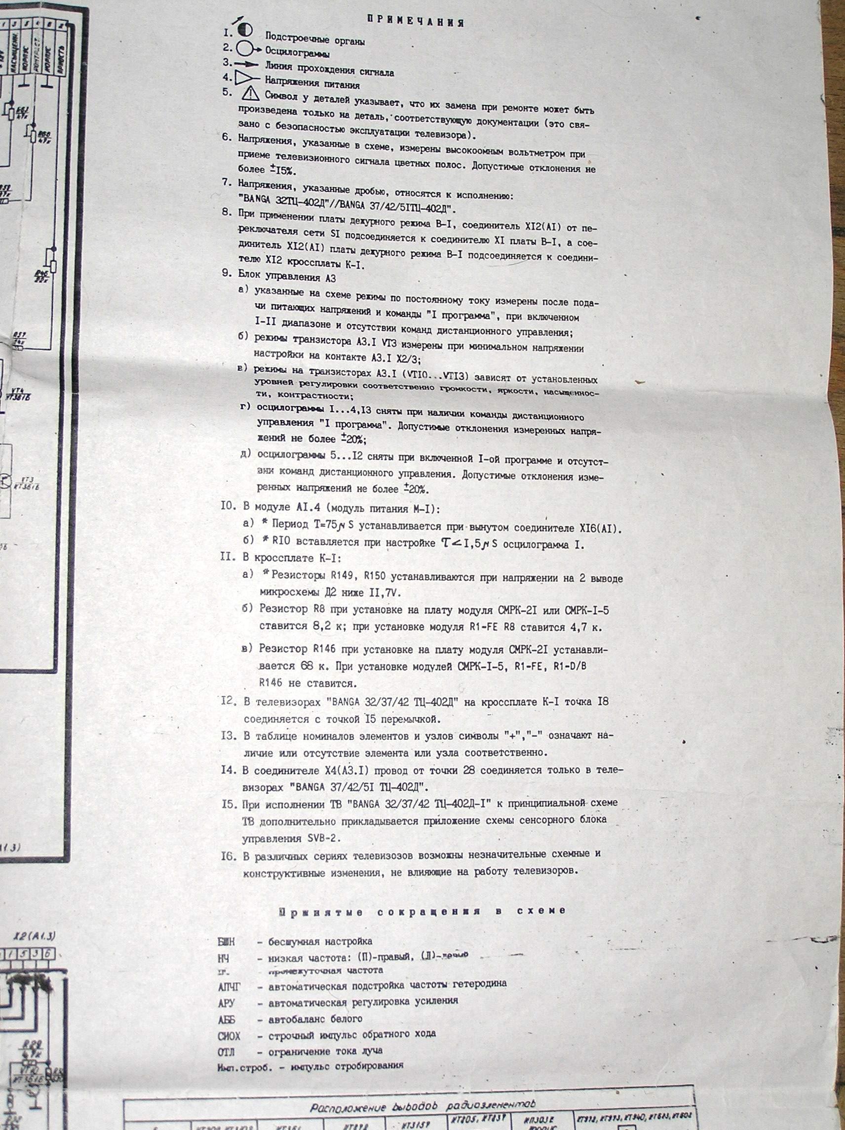 схема телевизора банга 32тц 402д